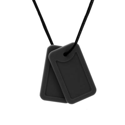 chewable jewelry black dog tags